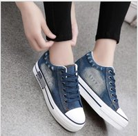 Wholesale Thick Soled Canvas Shoes - Vintage Water Wash Denim Shoes 2016 Breathable Platform Shoes Women Casual Canvas Shoes Thick Sole Trainers Zapatillas