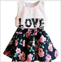 Wholesale Vest Suit T Shirt - 2016 new Summer Girl letter LOVE flower dress suits children cotton lovely Sleeveless vest T-shirt + floral skirt 2pcs suit baby clothes