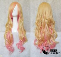 Wholesale Wig Sheryl - 100% Brand New High Quality Fashion Picture full lace wigs>>Macross Series Sheryl Nome 80CM Blond Pink Wave Cosplay Wig
