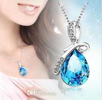 Wholesale Tear Statement Necklace - 2017 Fashion Women Austria Diamond Crystal Angel's tear Statement Pendant necklace Jewelry Fit Plated woman Necklace Pendant 2337-1