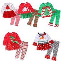 Wholesale Wholesale Girls Christmas Outfits - long sleeve baby girls Xmas Outfits Children Christmas 2pcs sets clothes white sanda reindeer tree dress striped ruffle pants free shipping