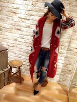 Wholesale Winter Coats Japan - New winter jacquard sweater dress geometric patterns National wind cardigan knitting coat
