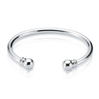 серебряные манжеты оптовых-Новое поступление стерлингового серебра 925 манжеты браслет крутящий момент обычный браслет браслет открытого размера браслет браслеты для женщин