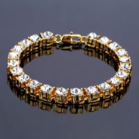 Gold Color Hip Hop Heavy Bling Bracelets Glacés 5mm 8mm Largeur Avec 20cm Long Link Chain Bracelet For Men Bijoux Cadeau