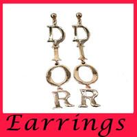 Wholesale Exaggerated Female - Korean ladies temperament high-quality metal stud earrings exaggerated letters nightclub female exaggerated Earrings Non mainstream retro