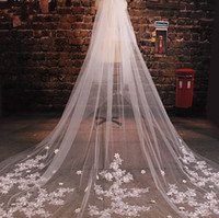 Wholesale wedding flower comb resale online - Luxury Cathedral Wedding Veils Appliques Flowers Handmade Tulle Bridal Veils With Comb Long Veils For Brides meter veil