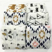 Wholesale Wholesale Baby Thermal Blanket - Newest Baby Cotton Muslin Swaddle Wrap 30 styles with Box cartoon panda fox print Blanket Newborn Swaddle Towel 120x120cm