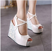 Wholesale Strappy Wedges Sandals - New 2017 Sexy Cross Strappy Blue White Wedding Shoes Platform Wedge Sandals Peep Toe Bridesmaid Shoes