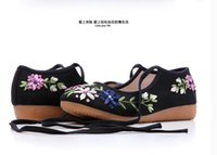 Wholesale Dance Shoes Square Toe - 2016 folk style square spring shoes old Beijing shoes shoes lace cloth embroidered shoes, dance shoes soft bottom