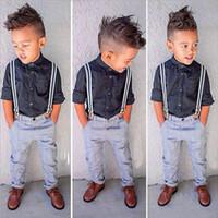 Wholesale Braces Suit - Children Clothing Sets Kids Clothes Suits Baby Boys Gentleman T shirt Braces Jeans 2PCS Sets Hight Quality Clothing Wholesale