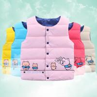 Wholesale Down Vest Cartoon Waistcoats - 2016 Autumn Kids Girls Waistcoat Down Coat Baby girl boy Vests children outwear Cartoon Cute Pig Warm Comfortable Autumn Winter