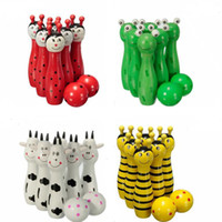 The Wooden Bowling with Animal Design Système d'apprentissage Family Game EducationLearning Toys Jouet pour enfants