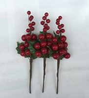 Wholesale Holly Flower - 2017 New Design 7.5 inch Artificial Bright Red Berry Holly Pick For Christmas Decorating *Free Shipping*