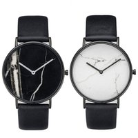 Wholesale Vintage Sale Tags - Fashion Marble Dial Women Simple Style Watches Minimal Leather Ladies Watch Minimalist Lady Clock Vintage Wristwatch On Sale