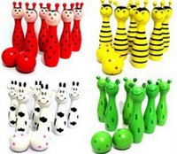 Wholesale Animal Style Bowling Toy - 2 SETS Free Ship Cute Baby Wooden Animal Style Bowling Toy 4 Desing Bowling Ball Game Baby Educational Toy