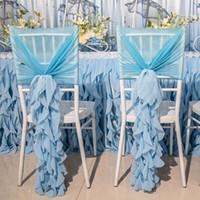 ingrosso coperture di sedia blu-Di lusso 3D sedia di bambù in chiffon Sash Sash Wedding Banquet Decorazione Accessori per la copertura della sedia bianco rosso rosa viola Champagne blu disponibile