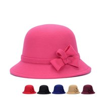 Vintage filles Ladies top mode Fascinator bowknot Floppy Stingy Brim Chapeaux mignons Caps Blend Felt cadeau Trilby Bowler Hat Noël