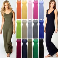 Wholesale New Basic Summer - 15 Colors New Sexy Women Long Dress Solid Round Neck Sleeveless Ankle Length Summer Basic Maxi Dress vestidos femininos longos Green