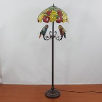 Gros-classique Chambre Art Parrot Lampadaire Vintage européenne Tiffany Floor Lamp Living Room Parrot Stained Glass Floor Lamp Dia50cm
