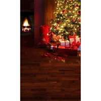 Indoor Room Fireplace Albero di Natale scintillante Sfere colorate Fotografia Backdrop Bambini Toy Orso Scatole regalo Studio Photo Shoot Background