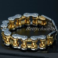 Wholesale heavy clay - 22 mm Heavy Cool 316L Stainless Steel Bracelet Mens Chain Gold & Silver Jewelry Good Gift 9""