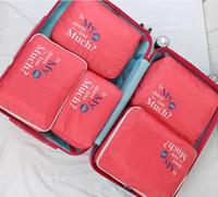 ambalaj sıkıştırma torbaları toptan satış-ÜCRETSIZ NAKLIYE SEYAHAT PAKETLEME KÜPLERI SET-5 Bagaj Organizatörler Çamaşır Torbası Bagaj Sıkıştırma Torbalar Toptan seyahat aksesuarları naylon torba