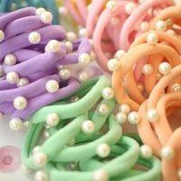 Wholesale Pearl Wholsale - Wholsale colorful 50pcs lot Rivet pearl hair rubber band cotton sugar color hair coil Elastic hair band