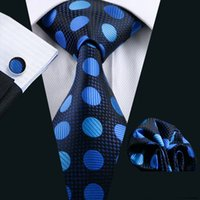 Wholesale Light Blue Cufflinks - Fashion Men Deep Blue Ties Light Blue Polka Dots Neck Ties For Adult Silk Necktie Meeting Party Jacquard Woven Mens Ties N-0796