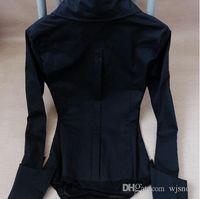 Wholesale Ladies Black Shirt Formal - Women Blouse Shirts Bodysuit Pocket Pointed Cuff Ladies Career Slim Button Down Shirts Free Shipping