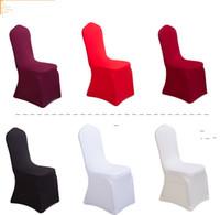 ingrosso sedia di banchetto nera spandex-100 pezzi per lotto universale bianco nero poliestere spandex sedia da sposa coperture per matrimoni banchetto pieghevole hotel decorazione decor