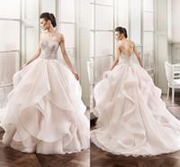 Wholesale Eddy K - New 2017 Wedding Dresses Eddy K Sweetheart Sleeveless Crystal Beaded Ruffles Skirt Organza Chapel Train Beach Bridal Gowns