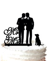 Wholesale Unique Pet Gifts - Gay mr and mr cake topper with a pet dog, unique wedding cake topper for groom gift,37 color for option Free Shipping