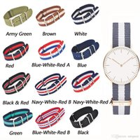 Wholesale Mens Nylon Watch Bands - Fashion Nylon Wrist Watch Band Buckle Straps Mens 8 Colors 20mm
