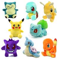 Wholesale gengar plush toys resale online - 8Pcs Pikachu Charmander Gengar Bulbasaur Squirtle Dragonite Snorlax Lapras Plush Kids Toys Stuffed Dolls For Children Gift