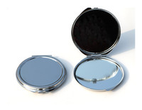Wholesale Wholesale Mirrors Plain - Silver floral embossed compact mirror 62mm Blank Plain Silver pocket mirror For DIY Decoden