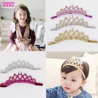 Wholesale novelty tiaras - INS Baby Girls Glitter Felt Headbands with Colors Crystals Novelty Tiara For Baby Princess headband 5colors choose free ship E1137