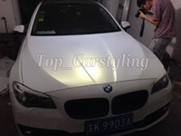 Wholesale White Matte Car - Chameleon Pearlescent Matte White gold Vinyl Wrap With Air Release Satin pearl white Matt Film For Car Wrap styling skin size 1.52x20m Roll