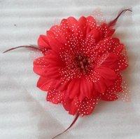 перо украшение головы оптовых-Мода точки перья груди цветок дети танцуют перо голову украшения корейский глава цветок