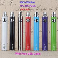 Wholesale E Cigarette Through - Original UGO V Battery with USB Cable Evod Pass Through Vaporizer Pen Bottom Charger 650 900 1100mAh E Cigarette fit 1453 510 Atomizer