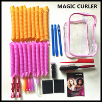 Wholesale Electric Magic Brush - 32pcs 55CM DIY Amazing Magic Leverag Hair Curlers Curlformers Hair Roller Hair Styling Tools Big Size With Comb Brush Clip Elastic PVC Bag