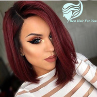 Wholesale Dark Red Hair Wigs - Bob Two Tone 1B 99J Burgundy Ombre Human Hair Lace Front Wig Short Bob Wine Red Full Lace Wig For Black Women