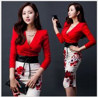 Wholesale Clubbing Girl Korean - Pcs Set 2016 Women Girls Long Sleeve Split Printed Dresses Sexy Women Sexy Korean Style OL Deep V + Skirt with Belt Outfits.B