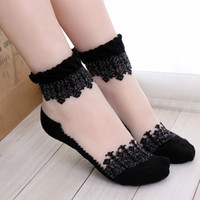 Wholesale White Silk Socks - 1Pair Women Lace Ruffle Ankle Sock Soft Comfy Sheer Silk Cotton Elastic Mesh Knit Frill Trim Transparent Ankle Socks bz676971
