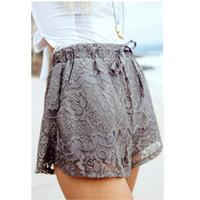 Wholesale Lace Drawstring Shorts - 2016061428 Women Ladies High Waist Floral Denim Lace Crochet Shorts Elastic