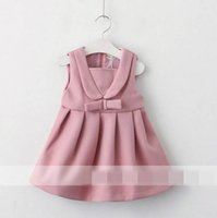 Wholesale Wool Blend V Neck Children - 2017 Autumn New Baby Girl Dress V-neck fold woolen Sleeveless Vest Skirt Children Clothing 318134