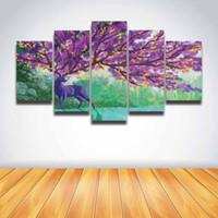 arte roxa da parede da flor da lona venda por atacado-5 Painel Cópias Da Lona Artística Veados Árvore Flor Roxa Pintura Modular Imagem Arte para Wall Art Home Decor Quarto Quarto