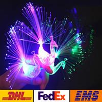 elyaflı parmak ışıkları toptan satış-LED Renkli Tavuskuşu Fiber Optik Parmak Işıkları Yüzükler Gece Işığı Yanıp Gece Işığı Oyuncaklar Noel Partisi Gece Işıkları WX-T38