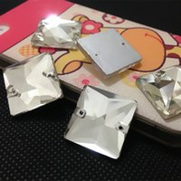 Wholesale Square Crystal Beads 14mm - Crystal Clear Color 2holes Sewing Glass Crystal Beads 8mm,10mm,12mm,14mm,16mm,22mm Flatback Square Shape Sew On Stone