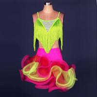 Wholesale Dresses Suite - New Adult Girl Latin Dance Dress Salsa Tang Cha cha Ballroom Competition Group Dance Dress Dance Suite S-XXL Customizable A33