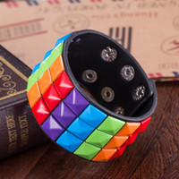 Wholesale Cute Infinity Charm Bracelets - 10pcs Rainbow colorful Braided Leather Cute Infinity Charm Bracelet Cuff Women Mens Casual Jewelry , bracelet accessories free shipping